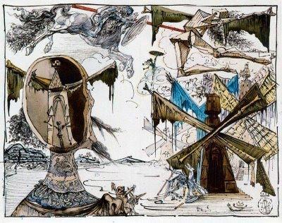 Visión daliniana de Don Quijote y los molinos