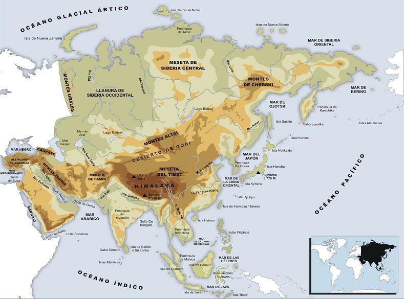 Montes Altai Mapa Fisico.Mapa Fisico De Asia Tranquilacion