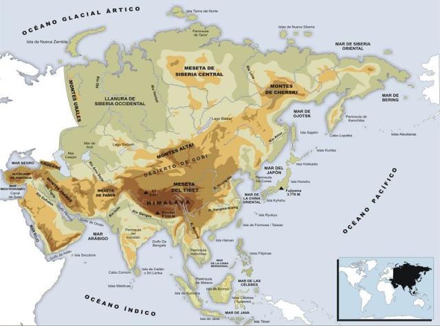 Asia. Mapa físico