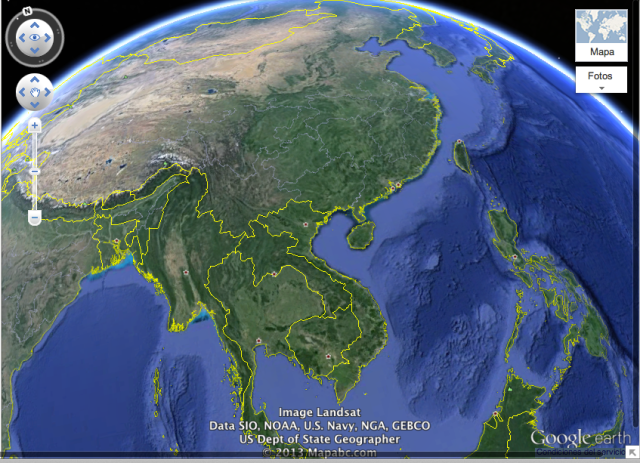 Vista de Asia en Google Maps