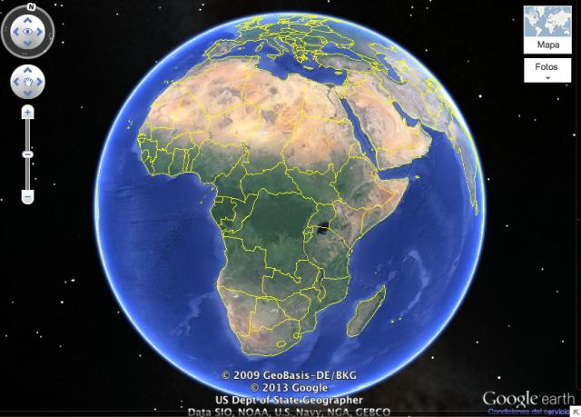 Vista de África en Google Maps