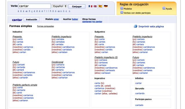 Imagen del conjugador de verbos Reverso