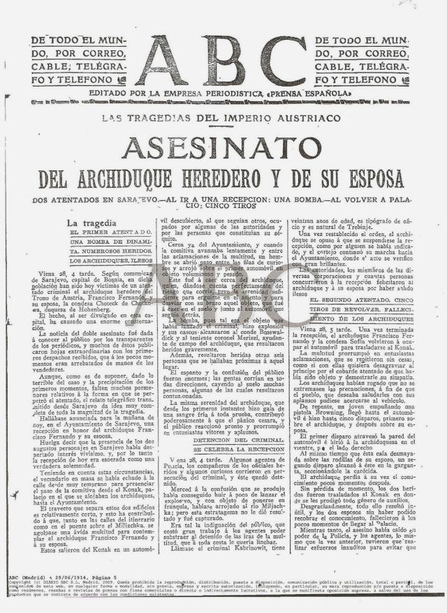 Asesinato del Archiduque Francisco Fernando, causa inmediata de la guerra.
