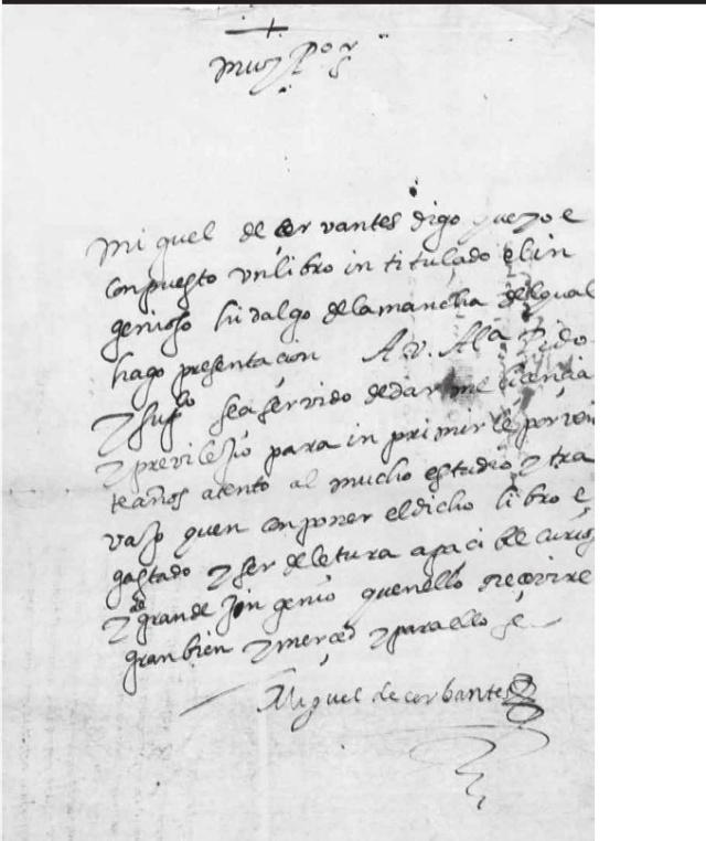 """Facsímil de la petición de licencia para """"El ingenioso hidalgo de la Mancha"""""""
