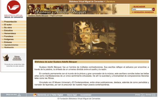 Portal dedicado al autor en la Biblioteca Virtual Miguel de Cervantes