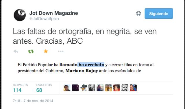 Un tuit de la revista Jot Down me puso en alerta de la burrada de ABC 'ha arrebato' por 'a rebato'