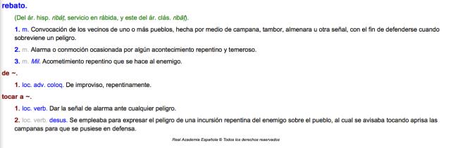 La definición de 'rebato' y de 'tocar a rebato' para quienes la desconozcáis