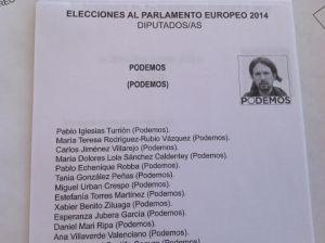Papeleta de las europeas de Podemos