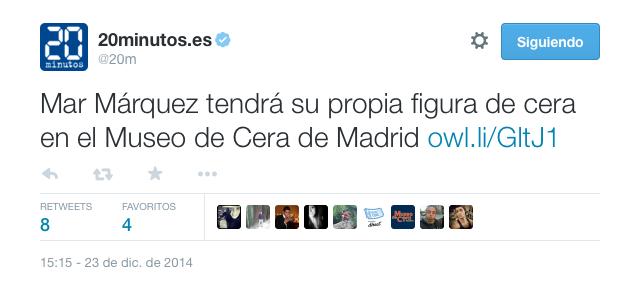 Del mismo mes, este tuit sobre la grandísima piloto de moto GP, la Sra. Mar Márquez