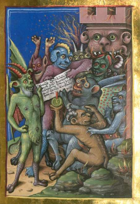 Demons wearing glasses.'😃 Jacobi de Ancharano, Litigatio Christi cum Belial, verdeutscht - BSB Cgm 48, 1461